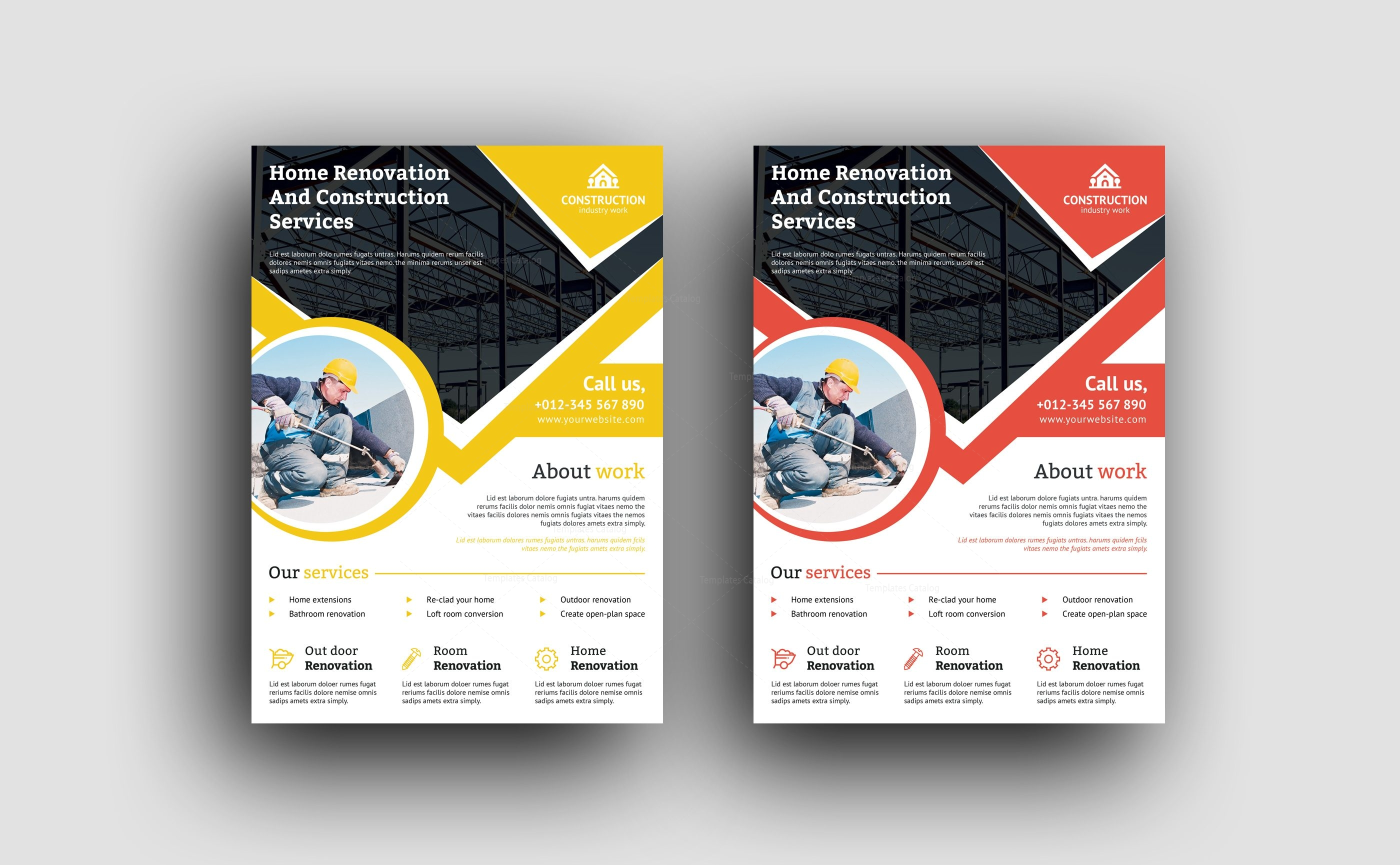 professional construction flyer design template 001493 template