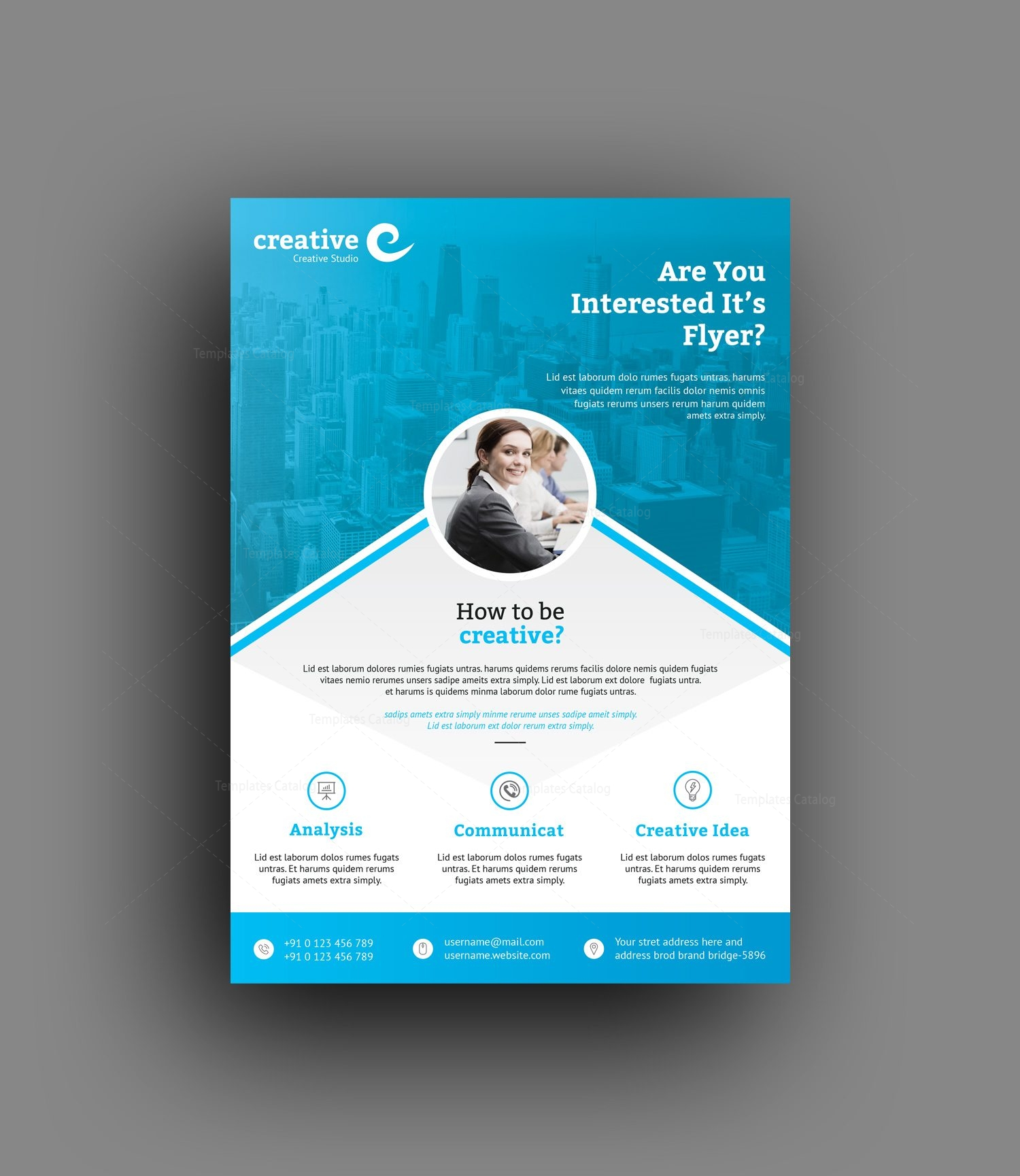 seattle professional business flyer template 001408