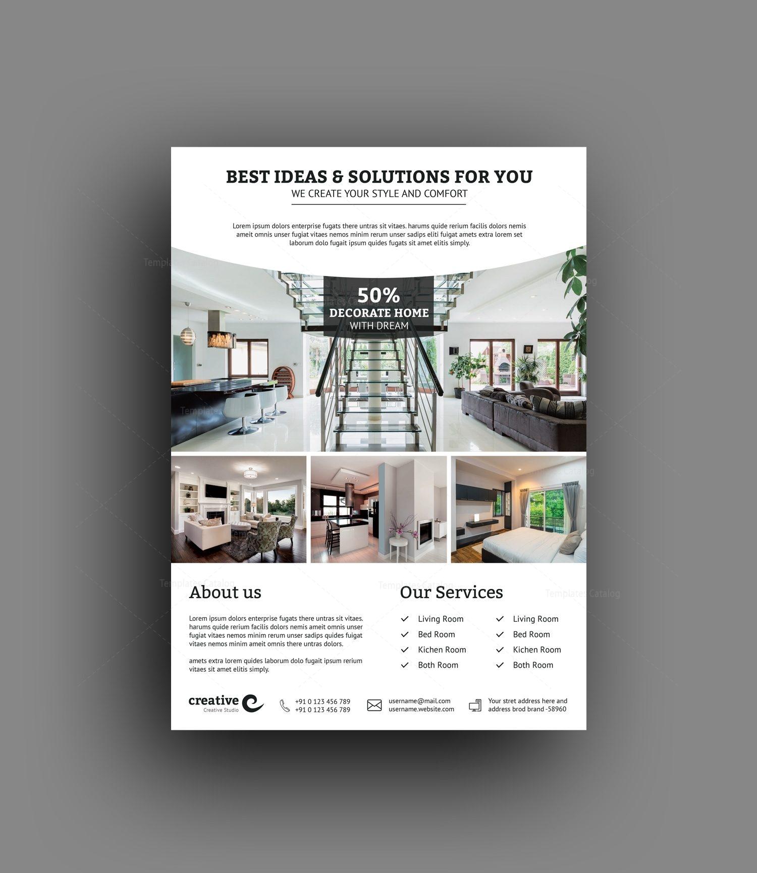 Stylish Interior Design Flyer Template 001498 Template Catalog