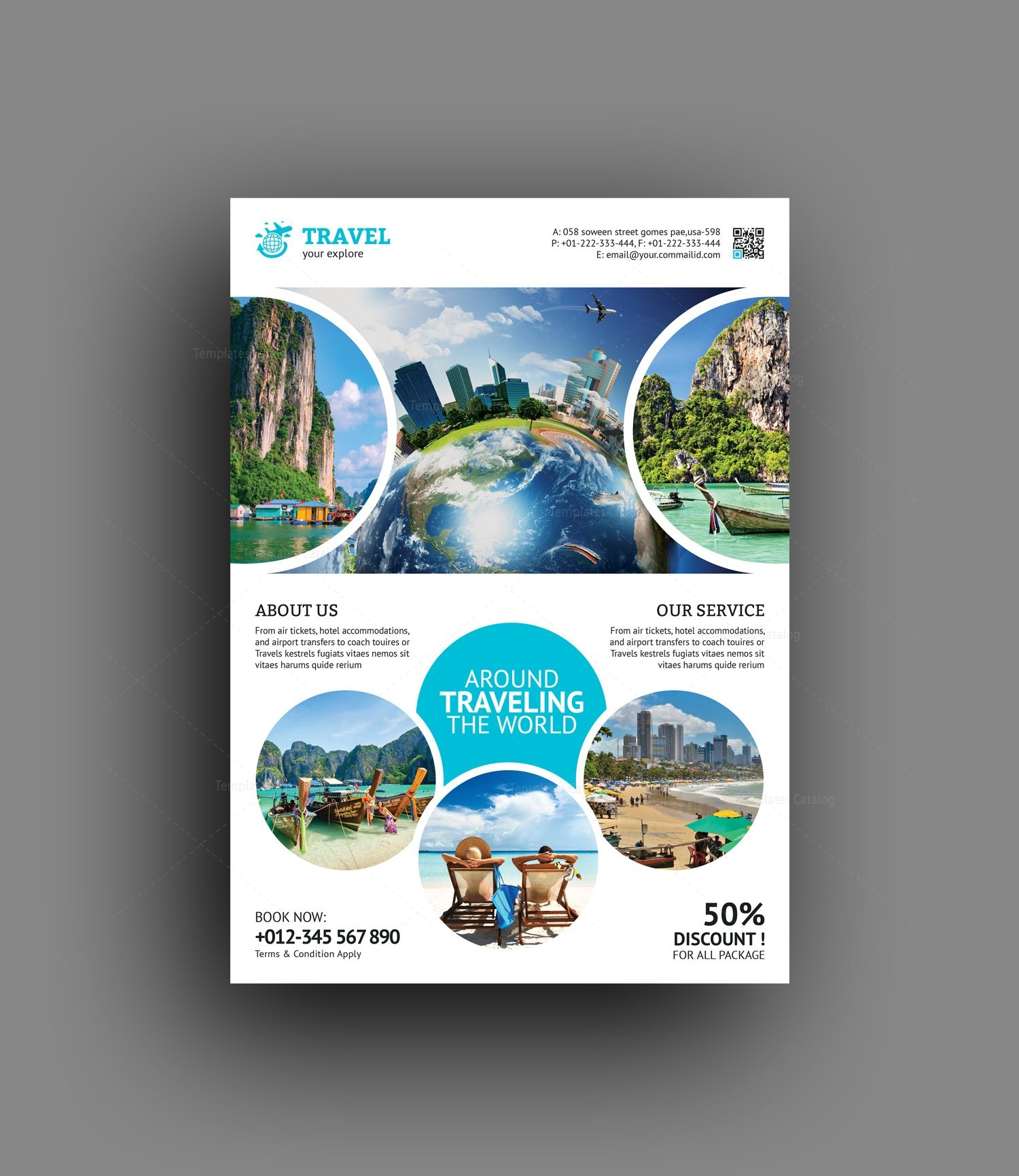 Tourism Travel Agency Flyer Template 001472