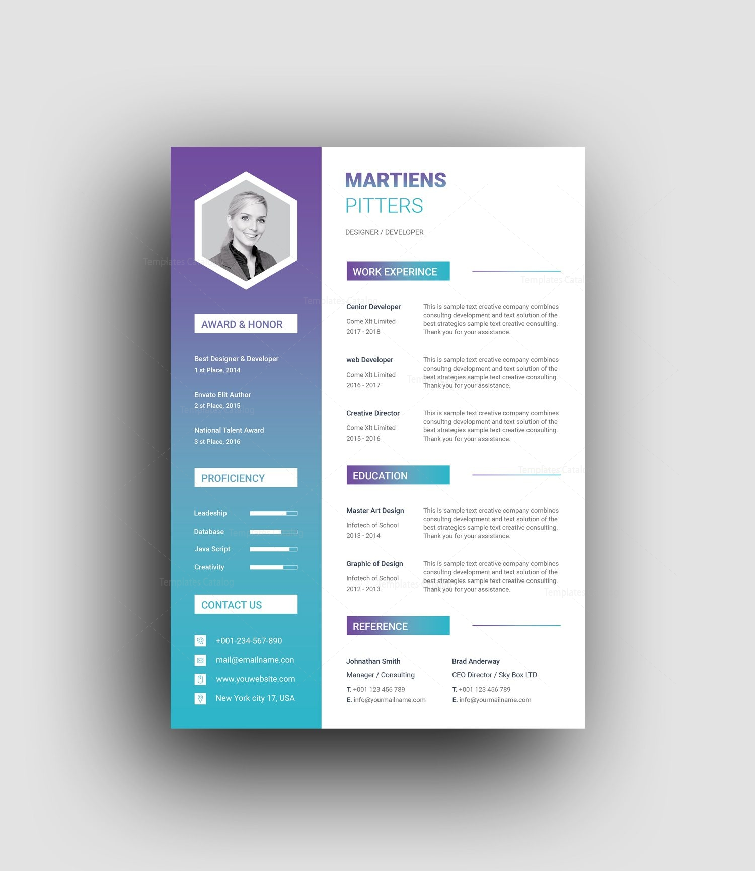 Zeus Modern Professional Resume Template 001455 Template Catalog