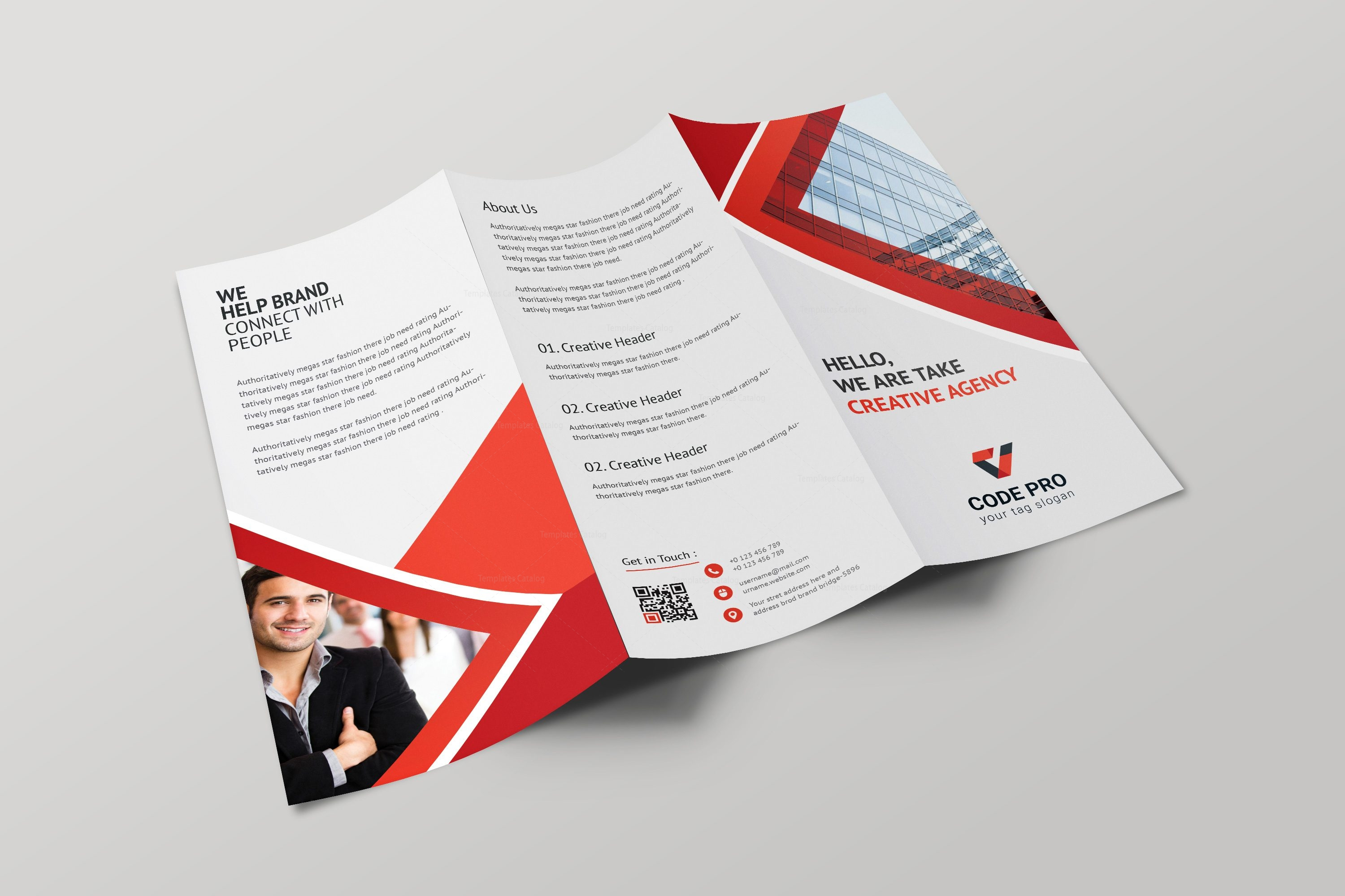 Athena professional tri fold brochure design template for Tri fold business brochure template