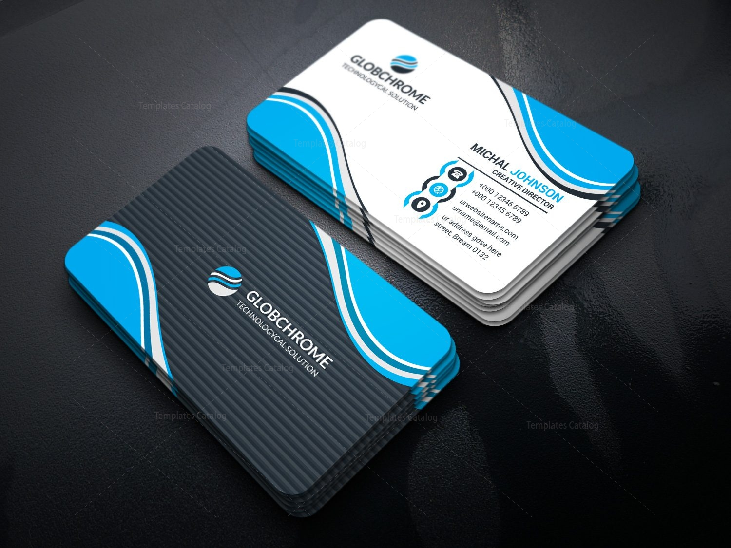 Atomic modern business card design template 001620 template catalog atomic modern business card design template 2 fbccfo