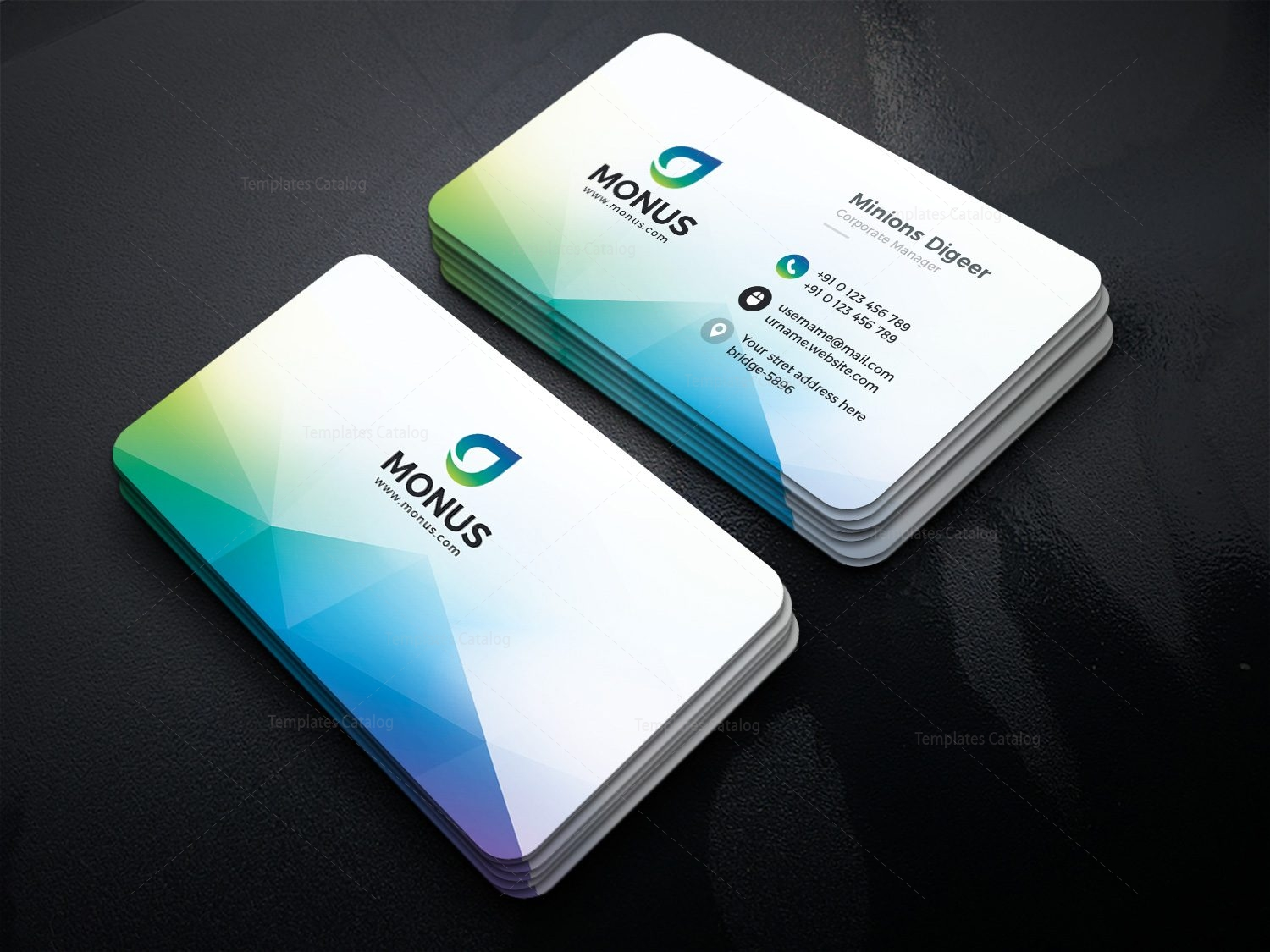 Aurora Modern Business Card Design Template 001593