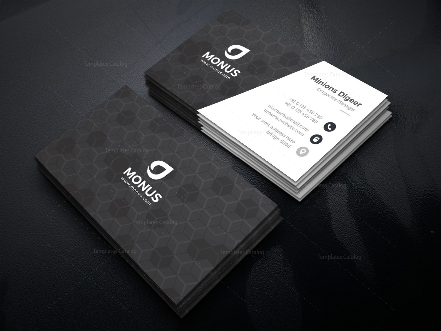 Black cubes modern business card design template 001592 template black cubes modern business card design template 2 accmission Image collections