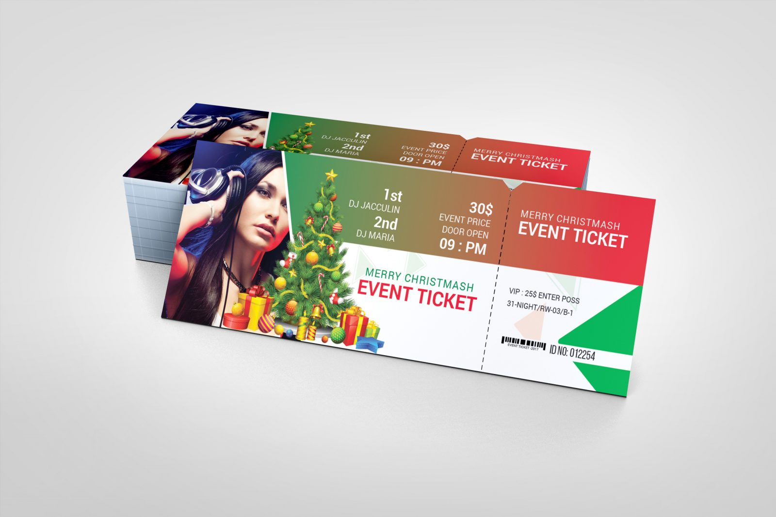 Christmas Event Ticket Design Template 001612 Template Catalog