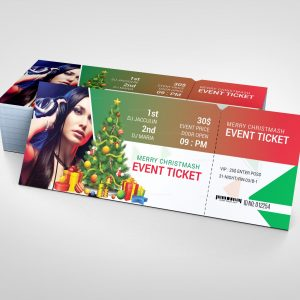 Christmas Event Ticket Design Template