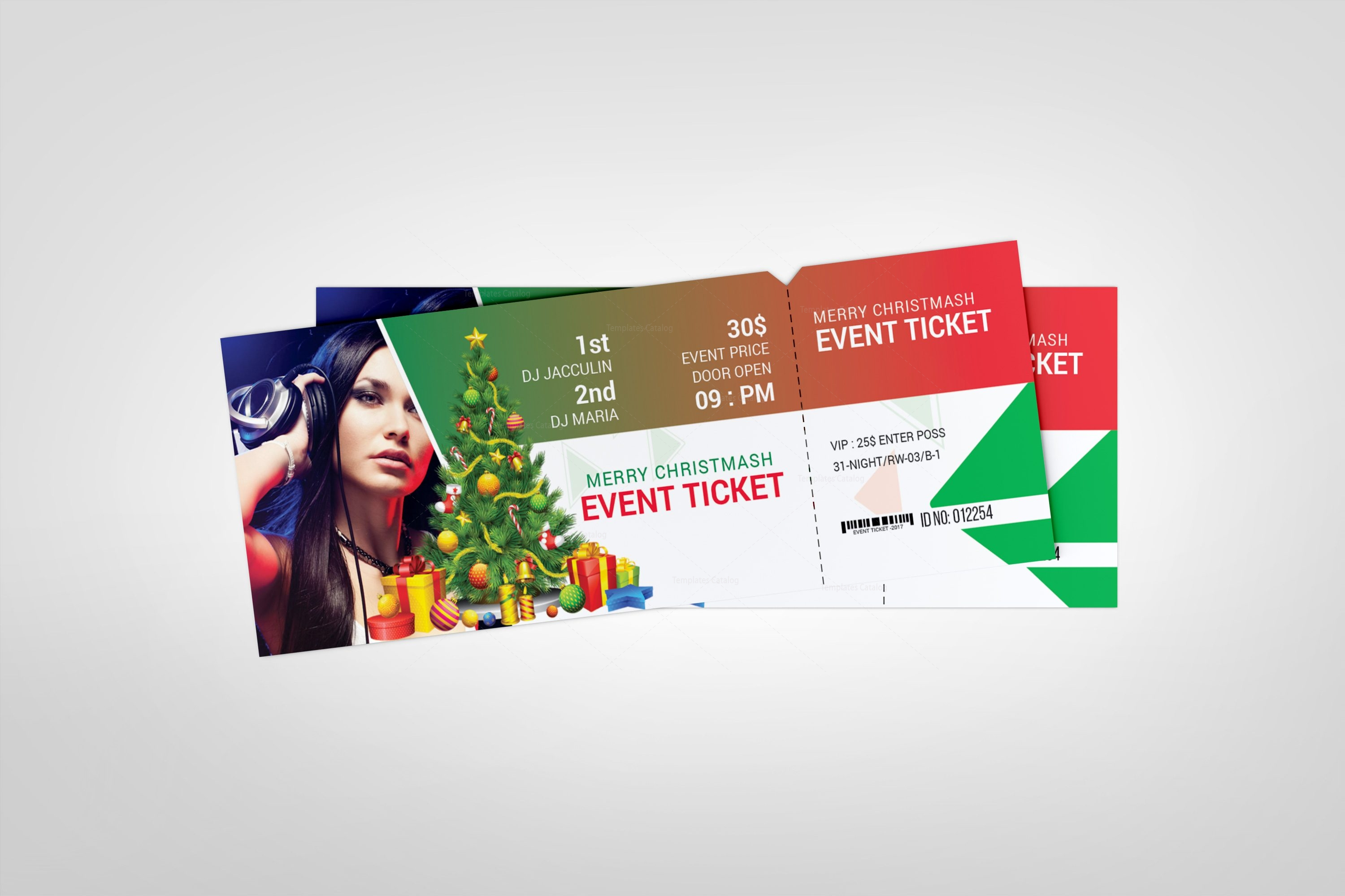 christmas event ticket design template 3 template catalog