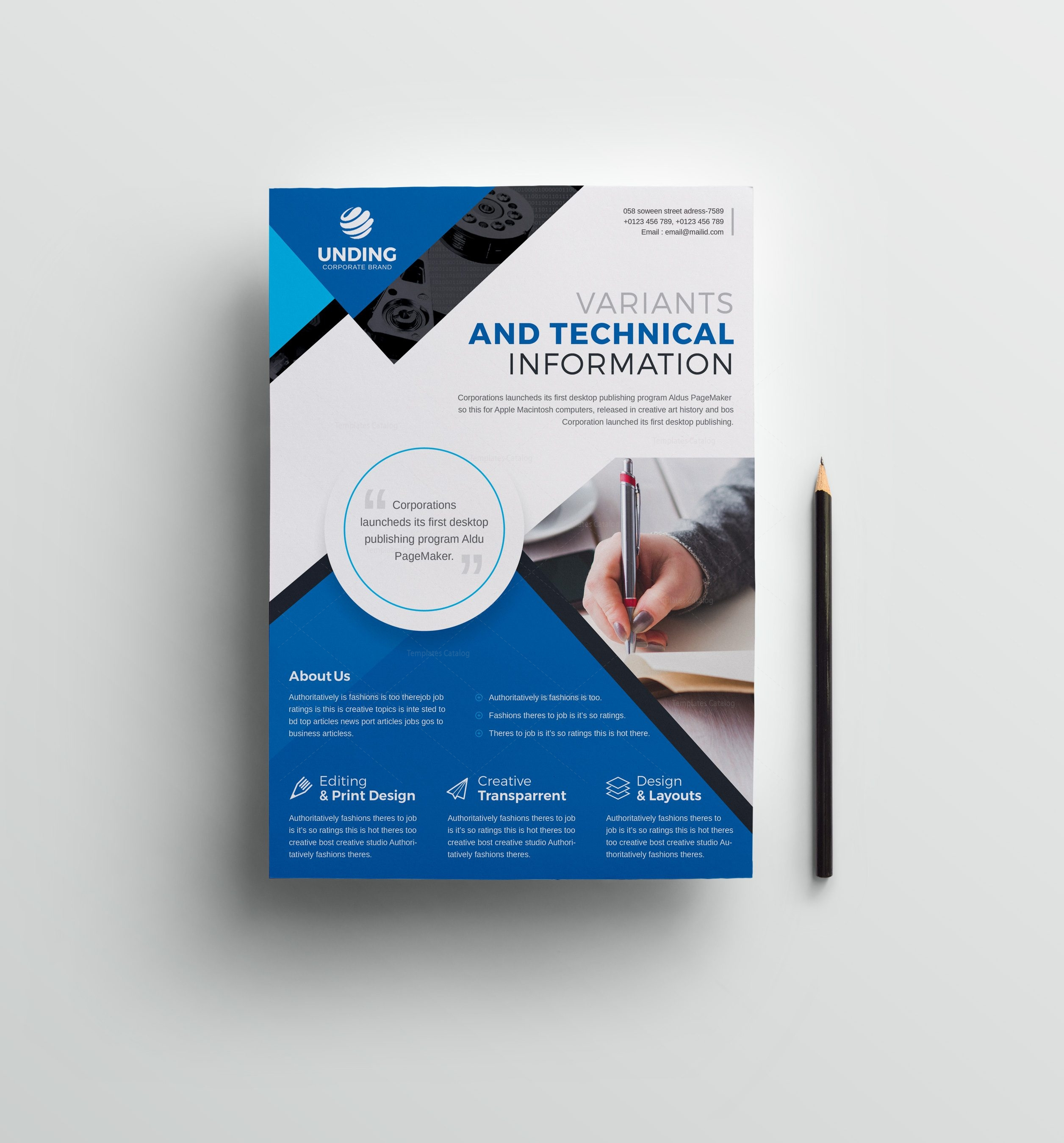 classic professional business flyer design template 001512