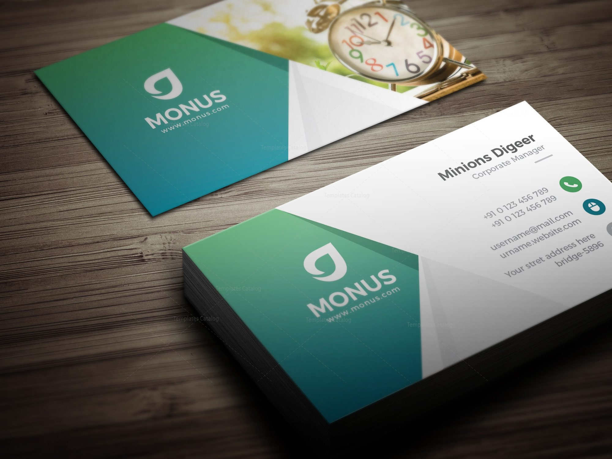 Clock modern business card design template 001591 template catalog clock modern business card design template friedricerecipe Gallery