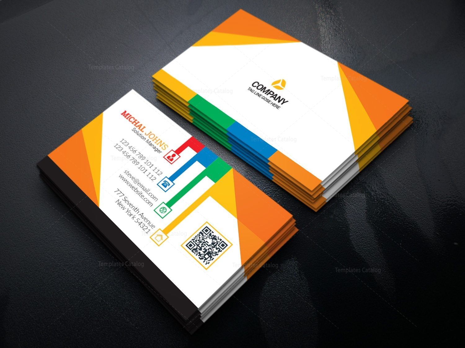 colorful stylish business card design template 001634 template catalog. Black Bedroom Furniture Sets. Home Design Ideas