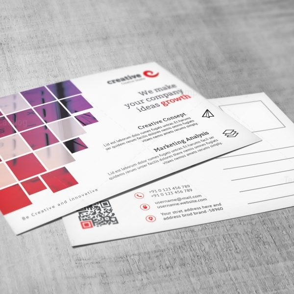 Creative Corporate Postcard Template with Square Shapes 4