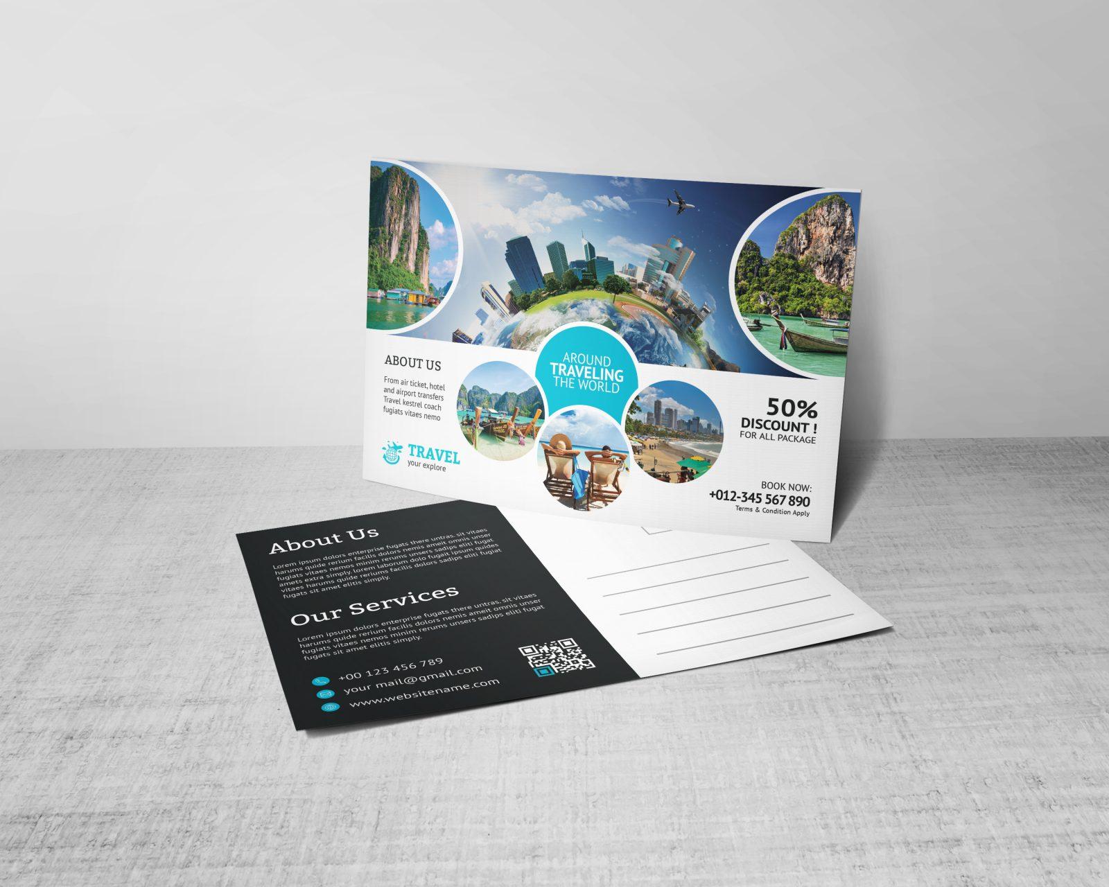 creative travel postcard design template 001552  template