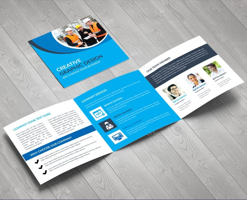 Elegant corporate square tri fold brochure design template for Classy brochure design