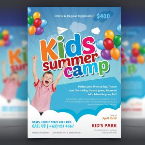 Excellent Kids Summer Camp Flyer Design Template