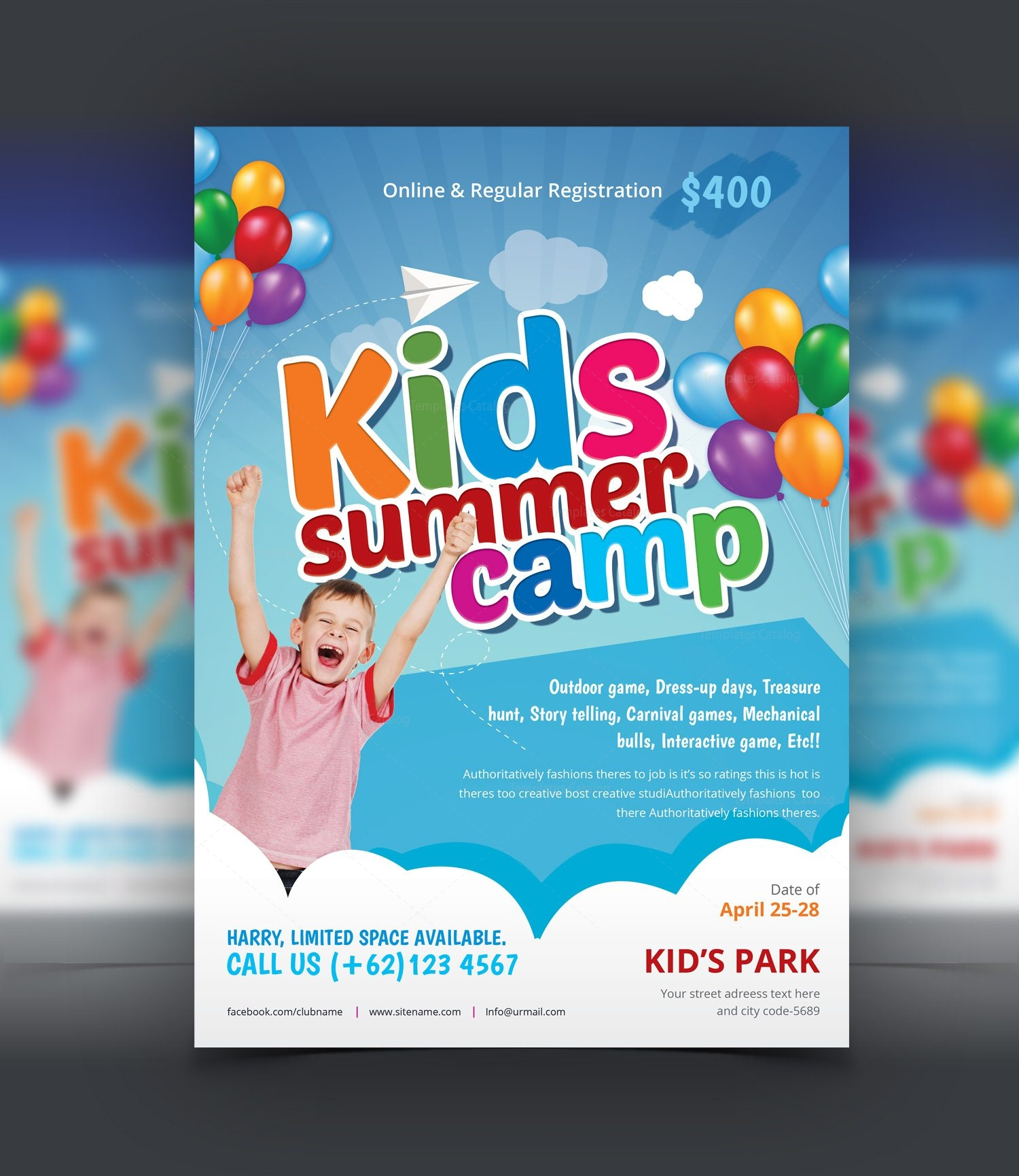 summer camp brochure template free download - excellent kids summer camp flyer design template 001525