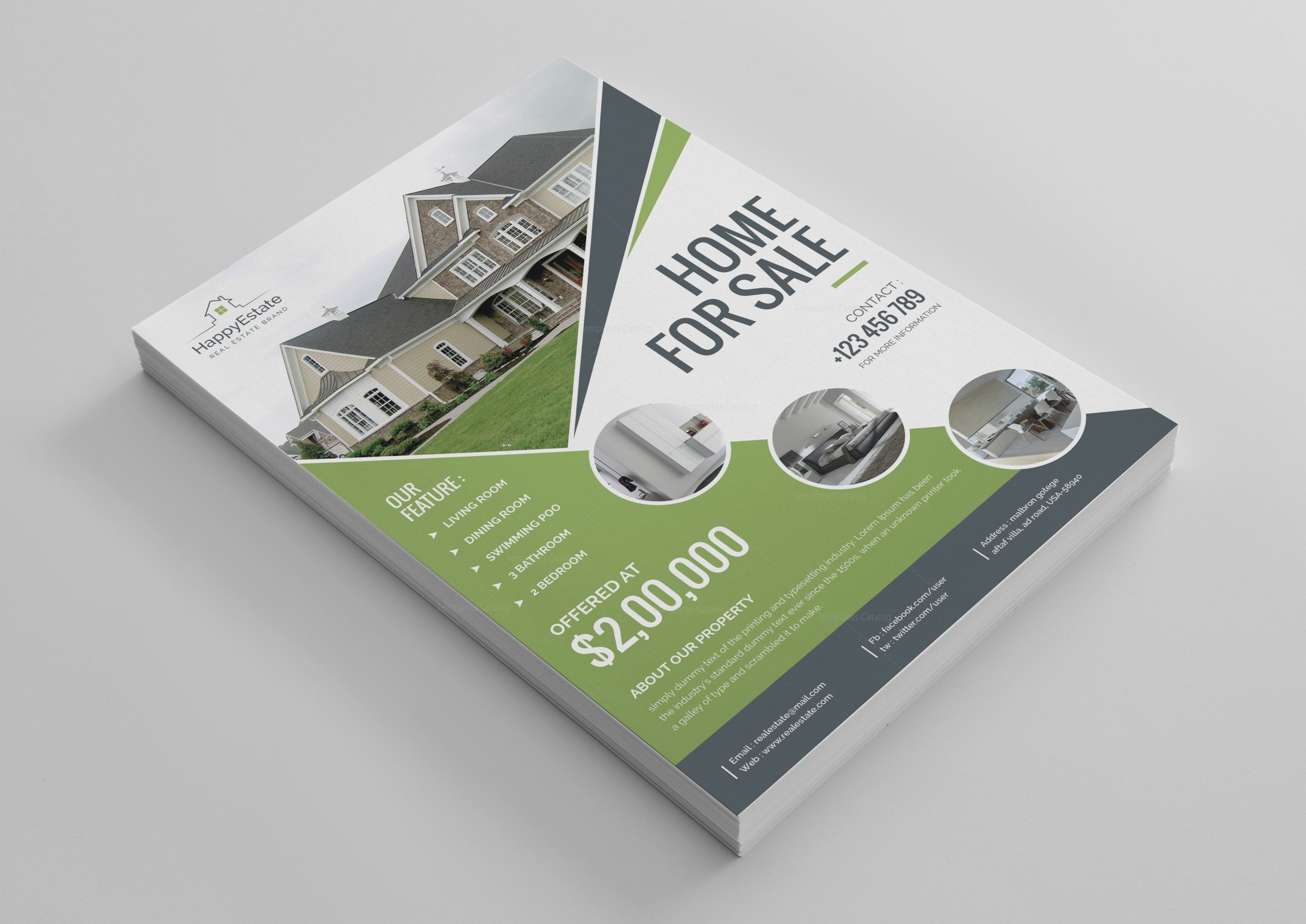 excellent real estate flyer design template 001521 template catalog