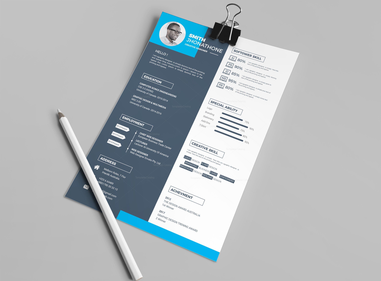 Hades Elegant Professional Resume Design Template   Template
