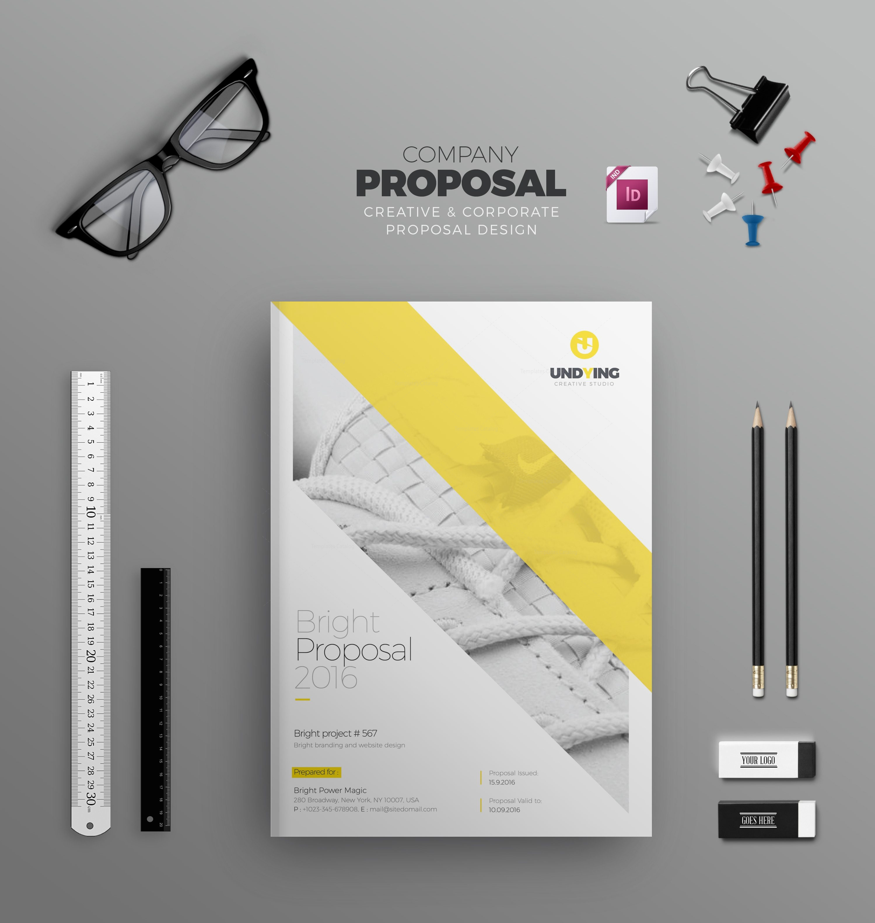 indd elegant business bi fold brochure design template 001584