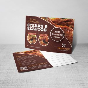 Luxury Restaurant Postcard Design Template