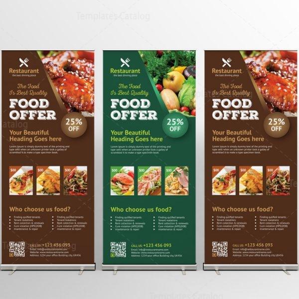Luxury restaurant roll up banner design template