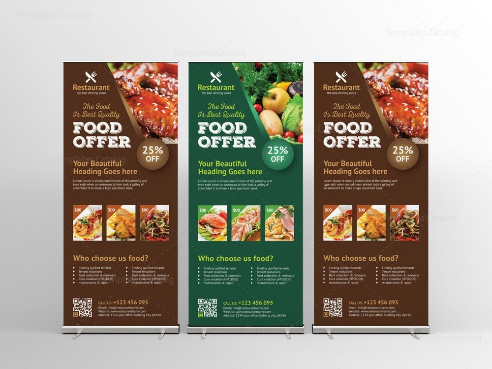 luxury restaurant roll up banner design template 001576 template