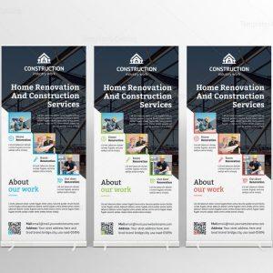 Modern Construction Roll-Up Banner Template