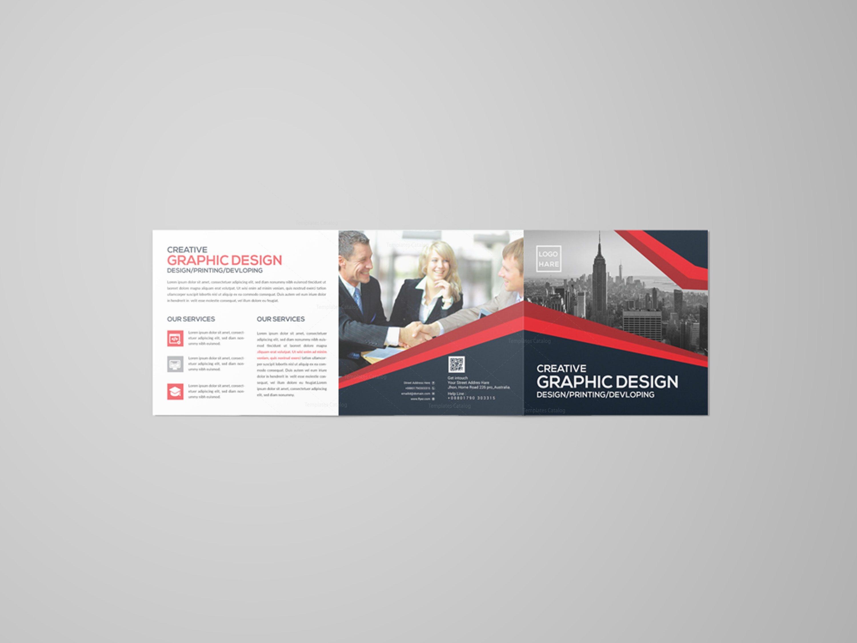 Modern Square Tri Fold Brochure Design Template 001616 Template