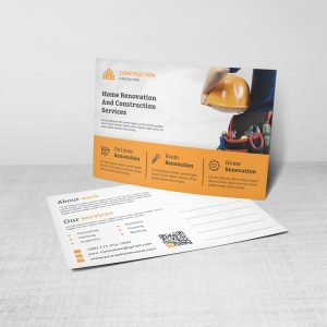 Renovation Construction Postcard Design Template