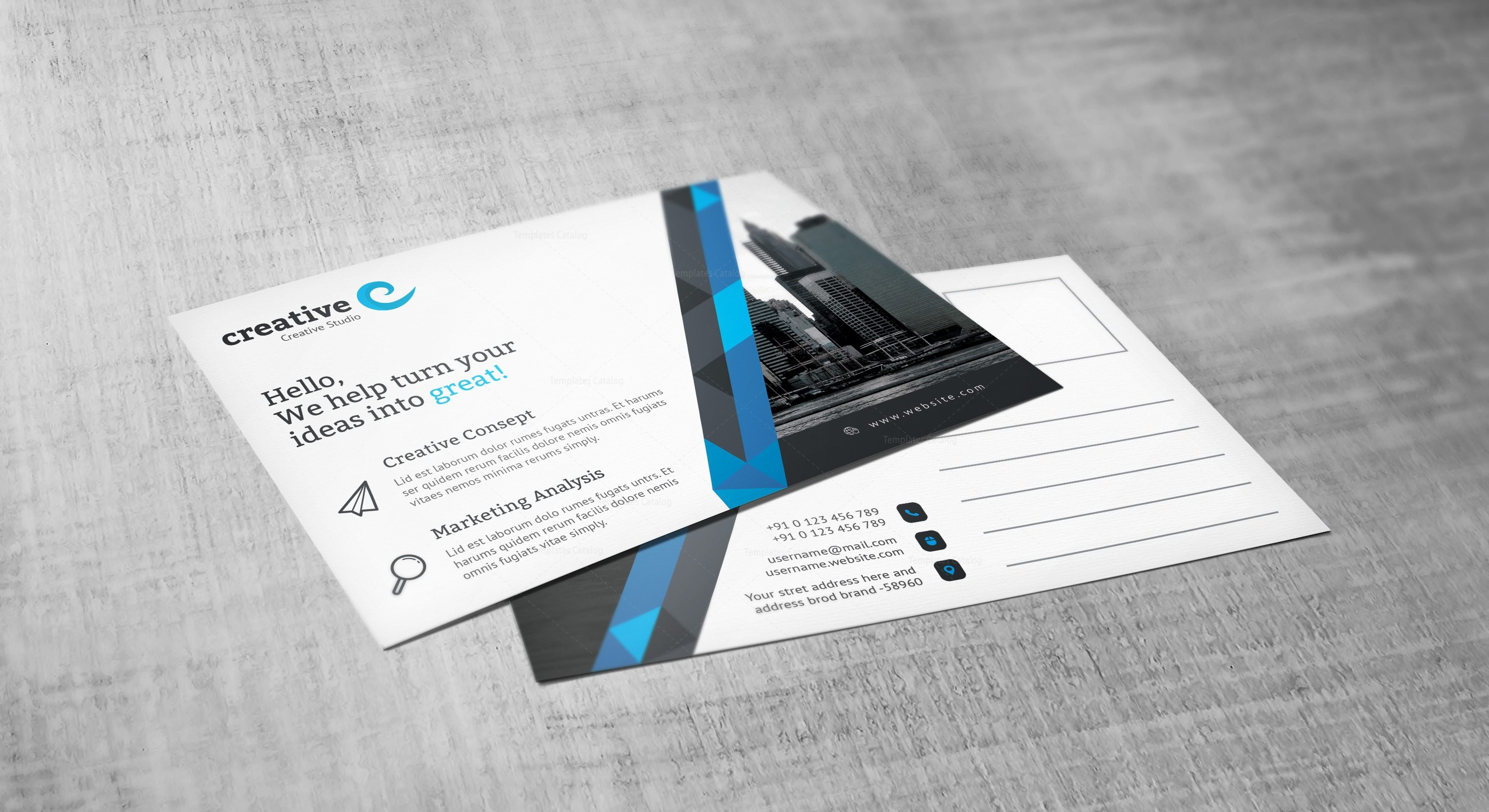 Stripe Professional Corporate Postcard Template 001546 - Template ...