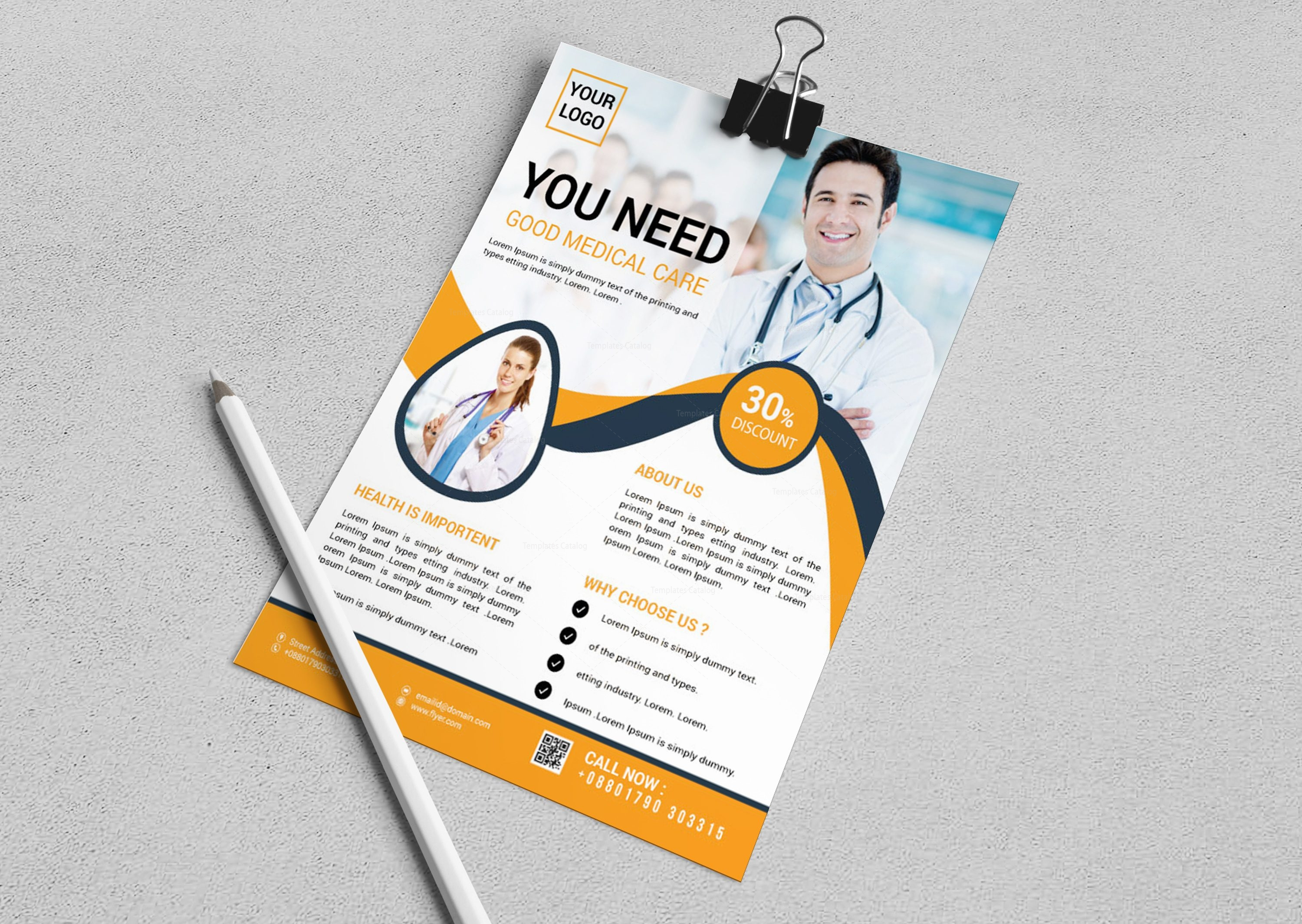 stylish medical flyer design template 001653 template catalog