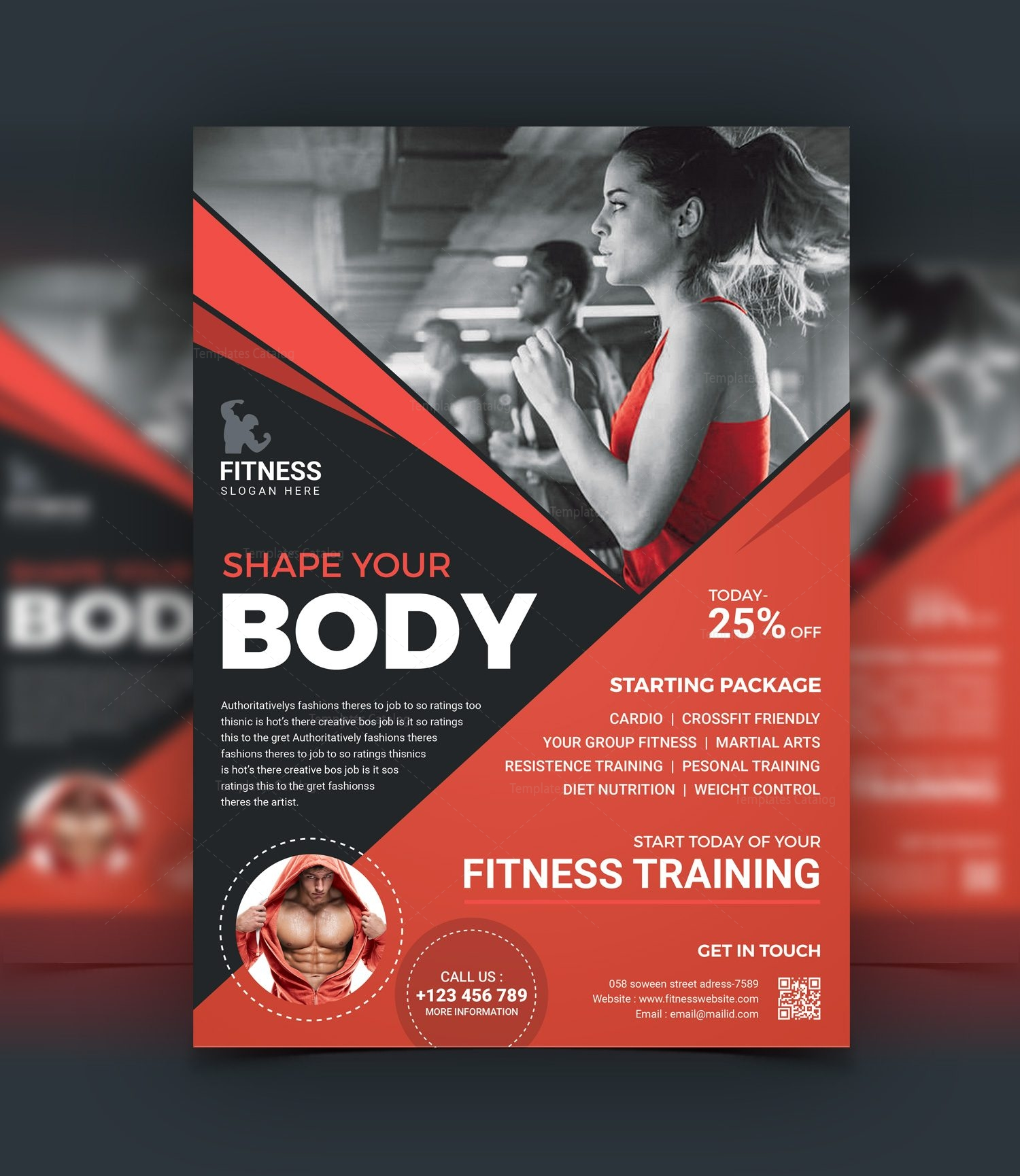 40 Best Free Flyer Templates In Adobe Indesign: Top Rated Fitness Center Flyer Design Template 001523