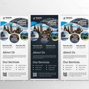 Travel Agency Roll-Up Banner Design Template