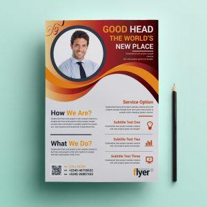 Wavy Modern Business Flyer Design Template
