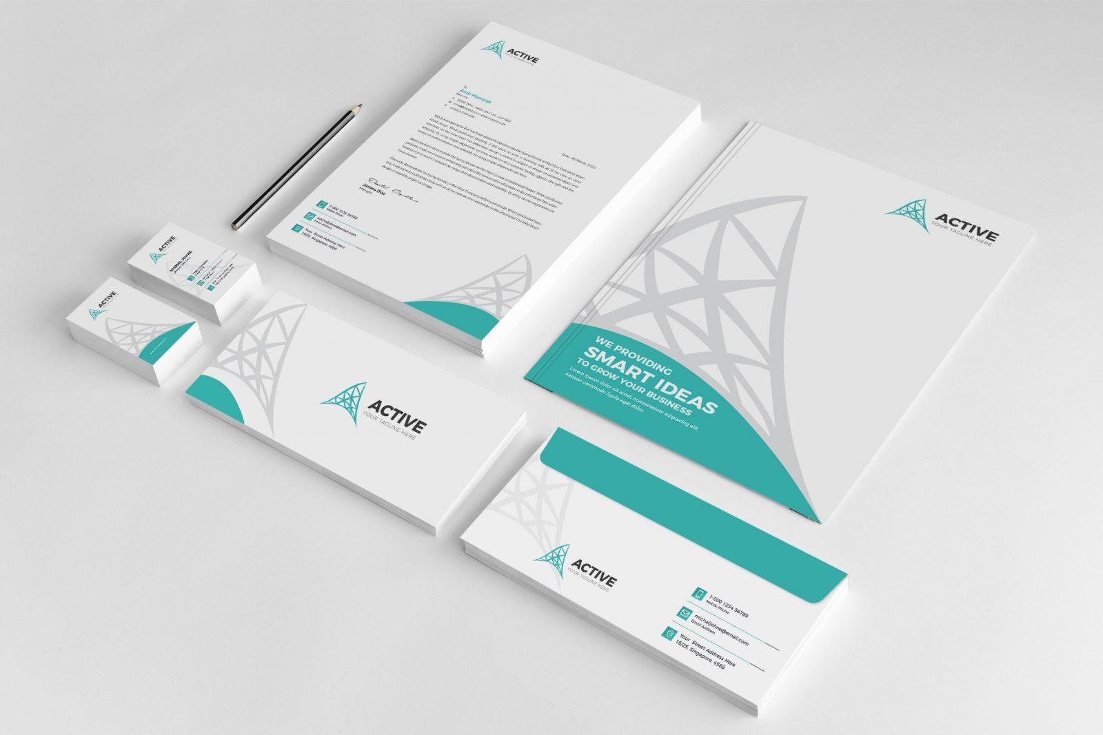 active creative corporate identity design template 001952