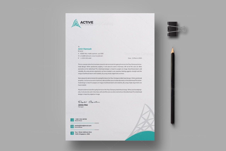 Active Professional Corporate Letterhead Design Template