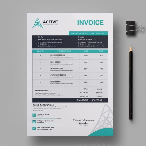 Active Professional Invoice Design Template 2