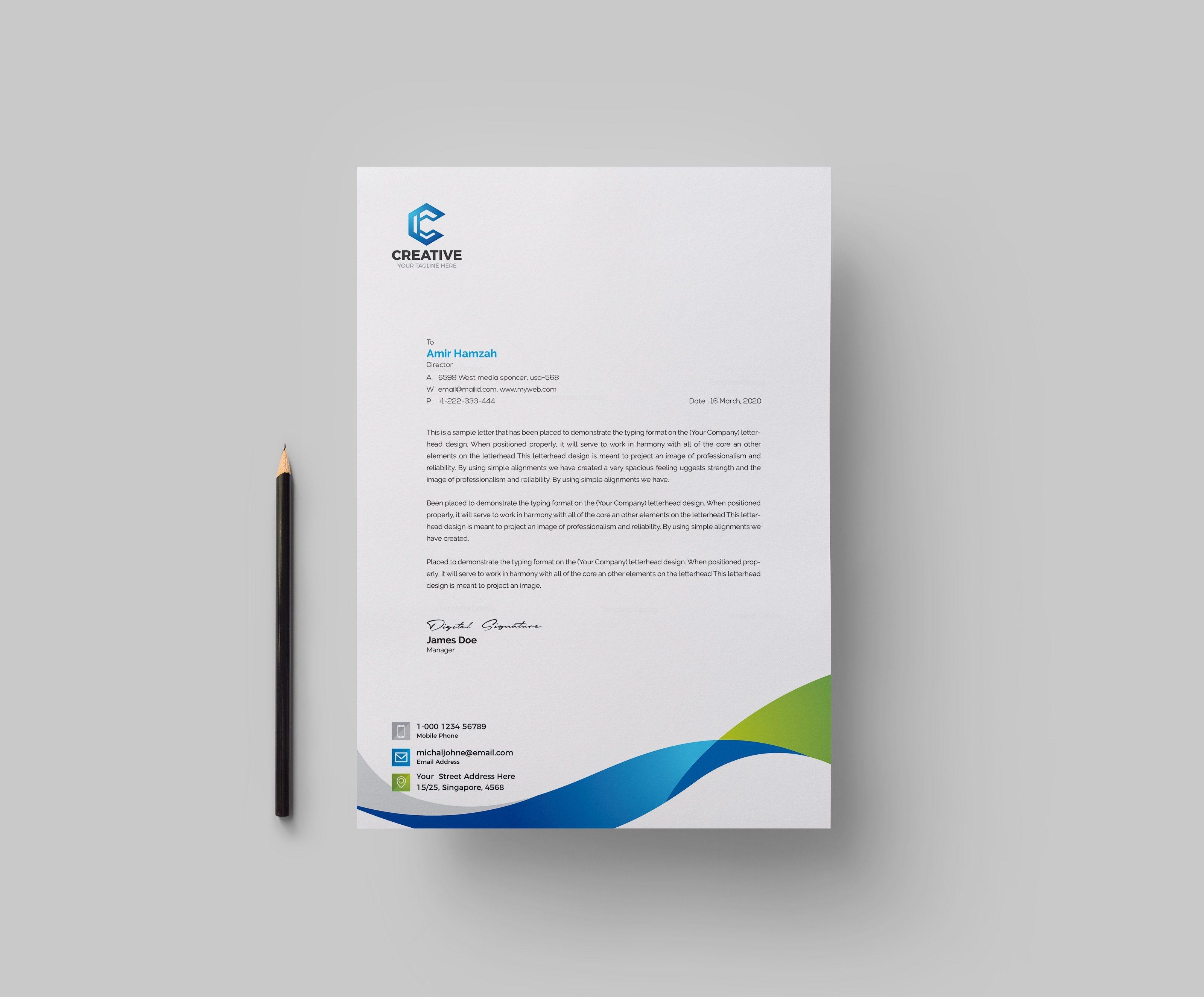 Creative Corporate Letterhead Design Template 1