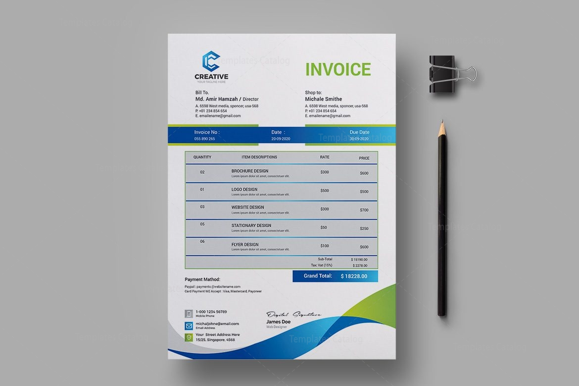 Elegant creative invoice design template 001957 template catalog elegant creative invoice design template 2 thecheapjerseys Image collections