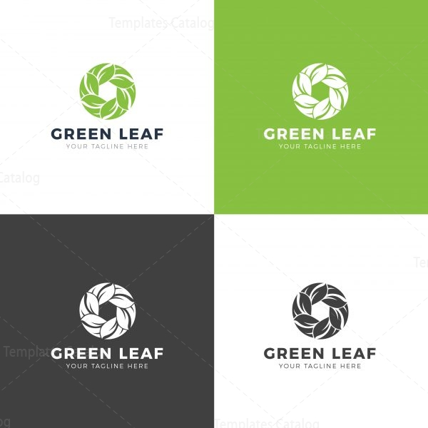 Green Leaf Professional Logo Design Template