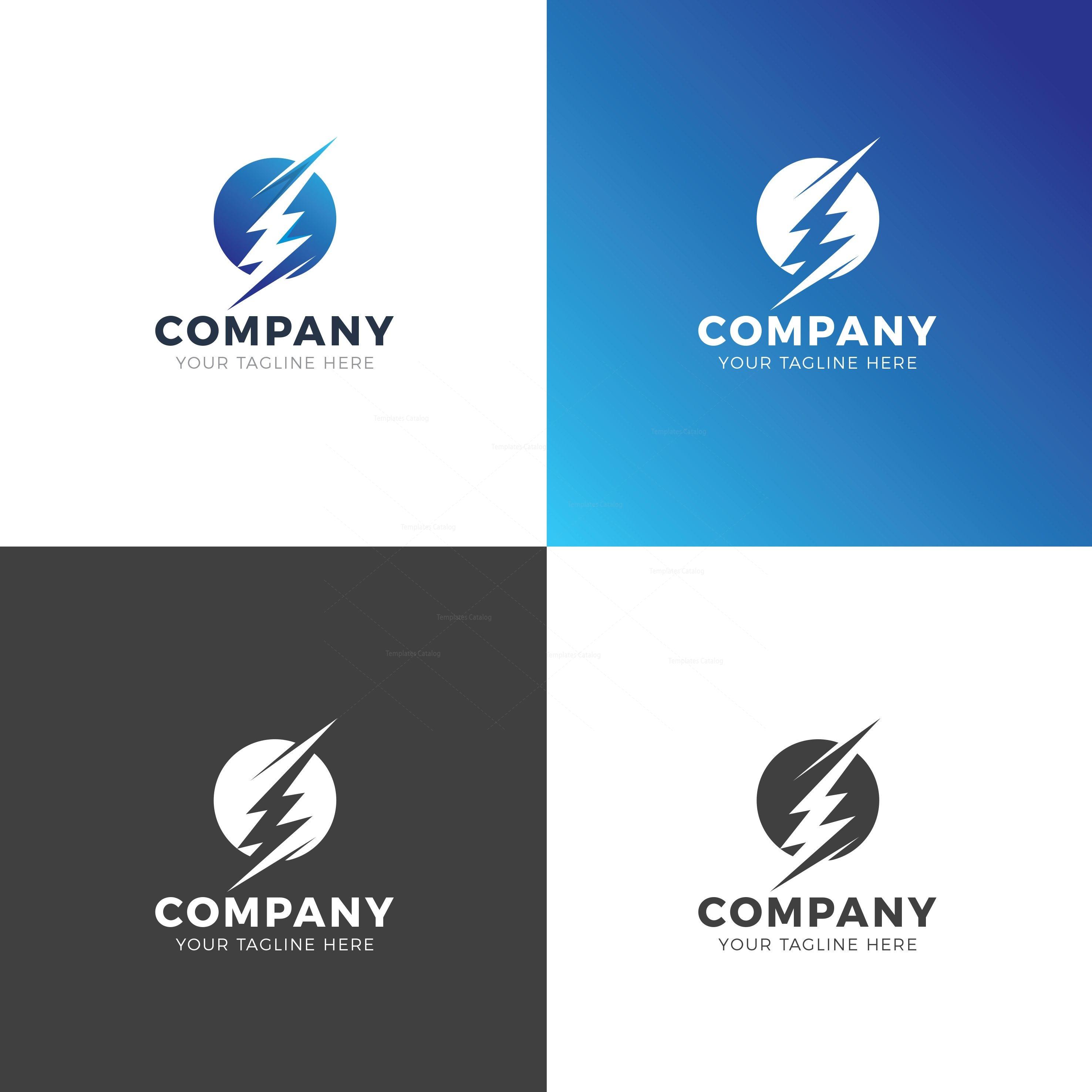 lightning professional logo design template 001936
