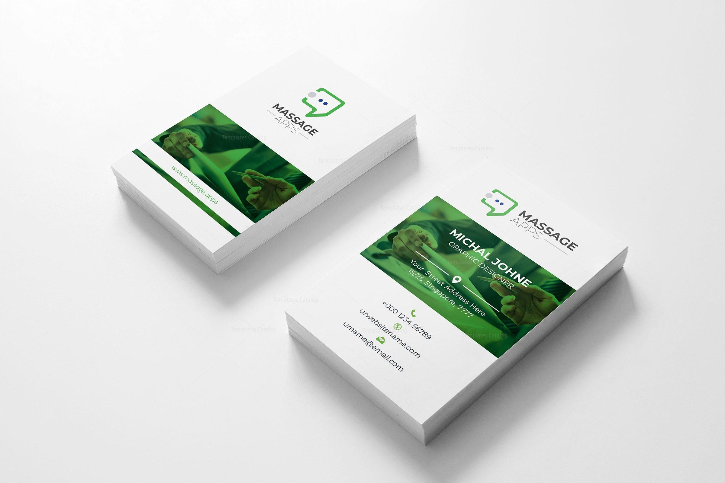 Message Application Business Card Design Template 001794 - Template ...