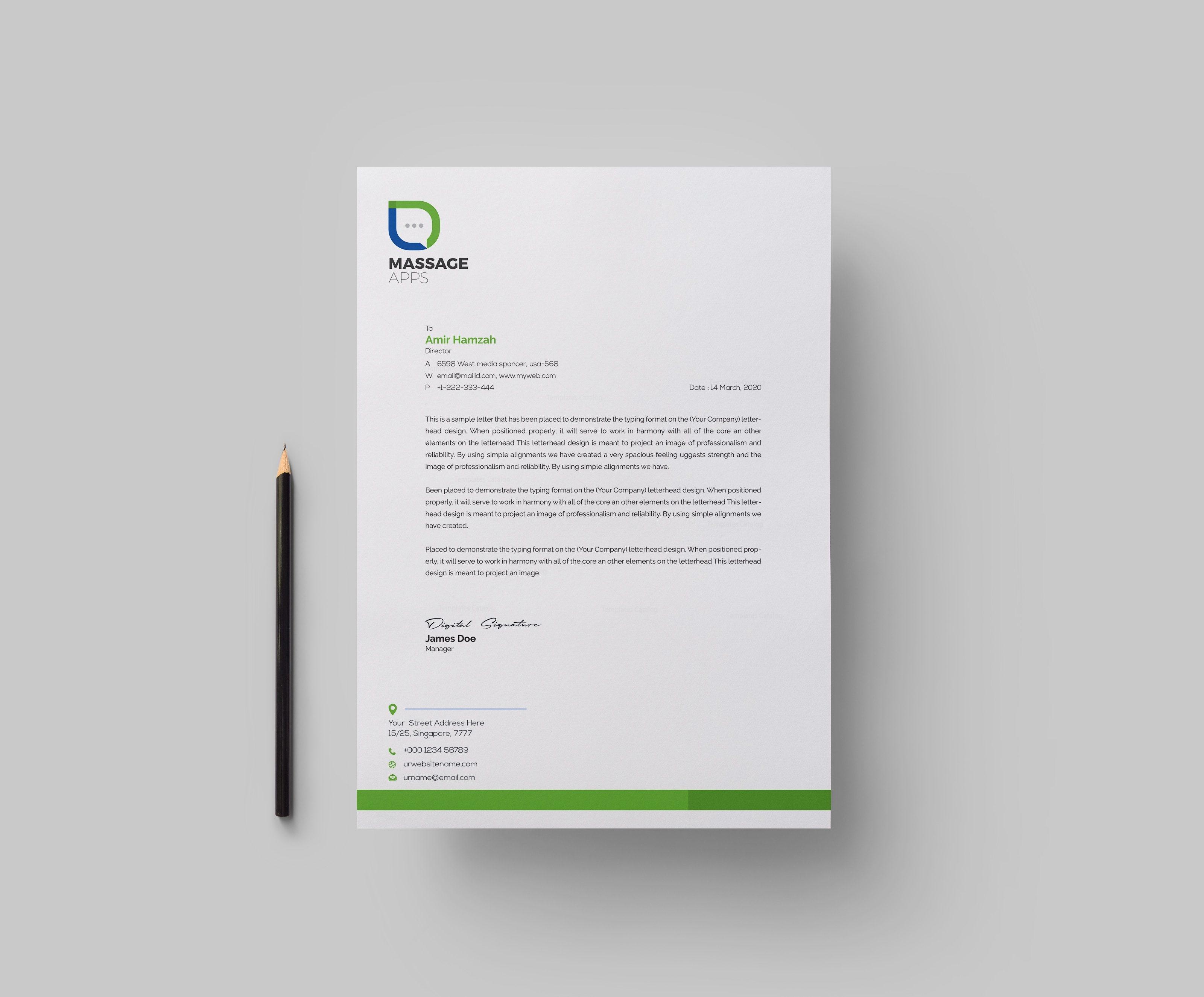 Message Professional Corporate Letterhead Template 1 - Template Catalog