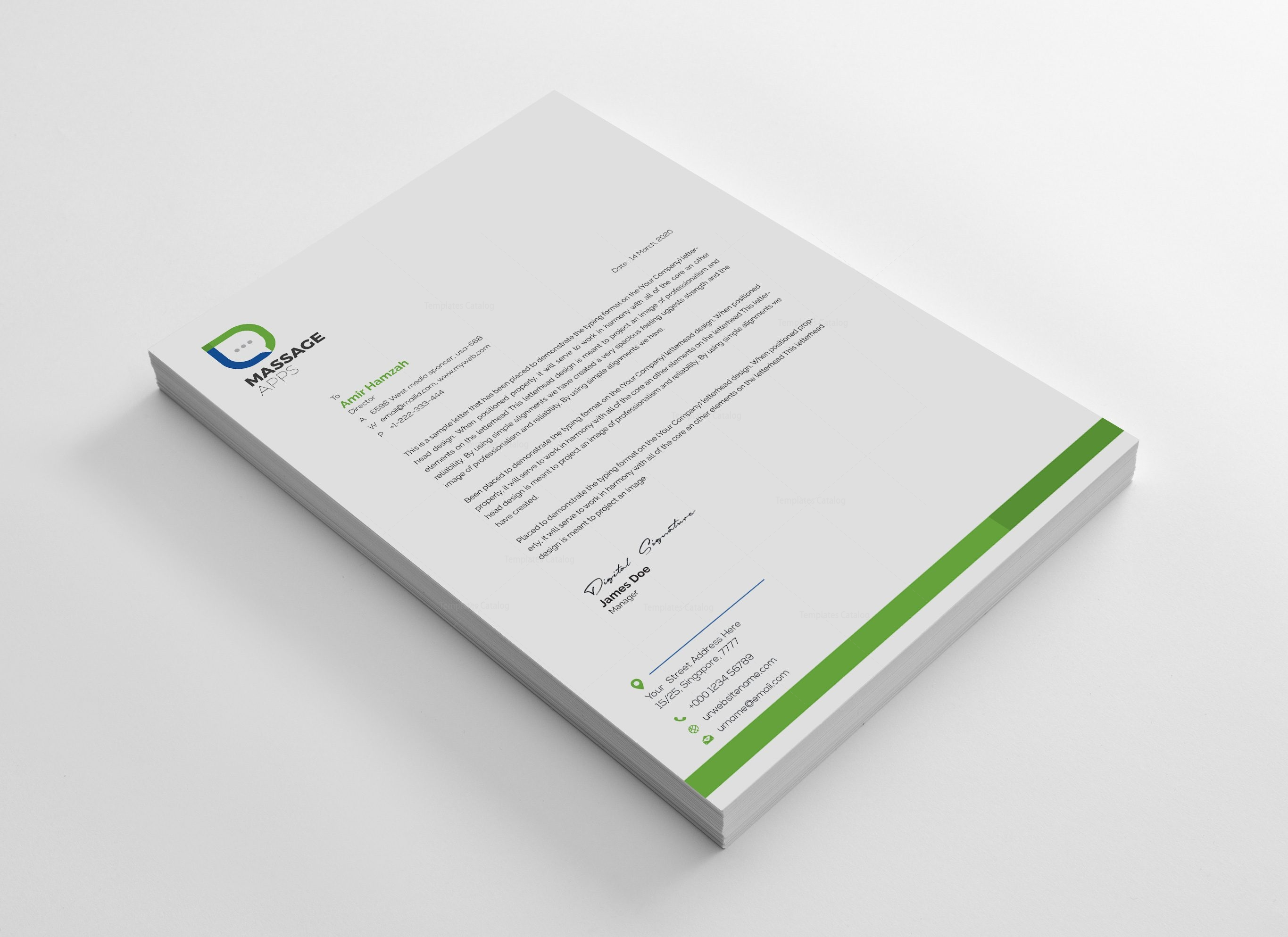 Message Professional Corporate Letterhead Template 001834 - Template ...