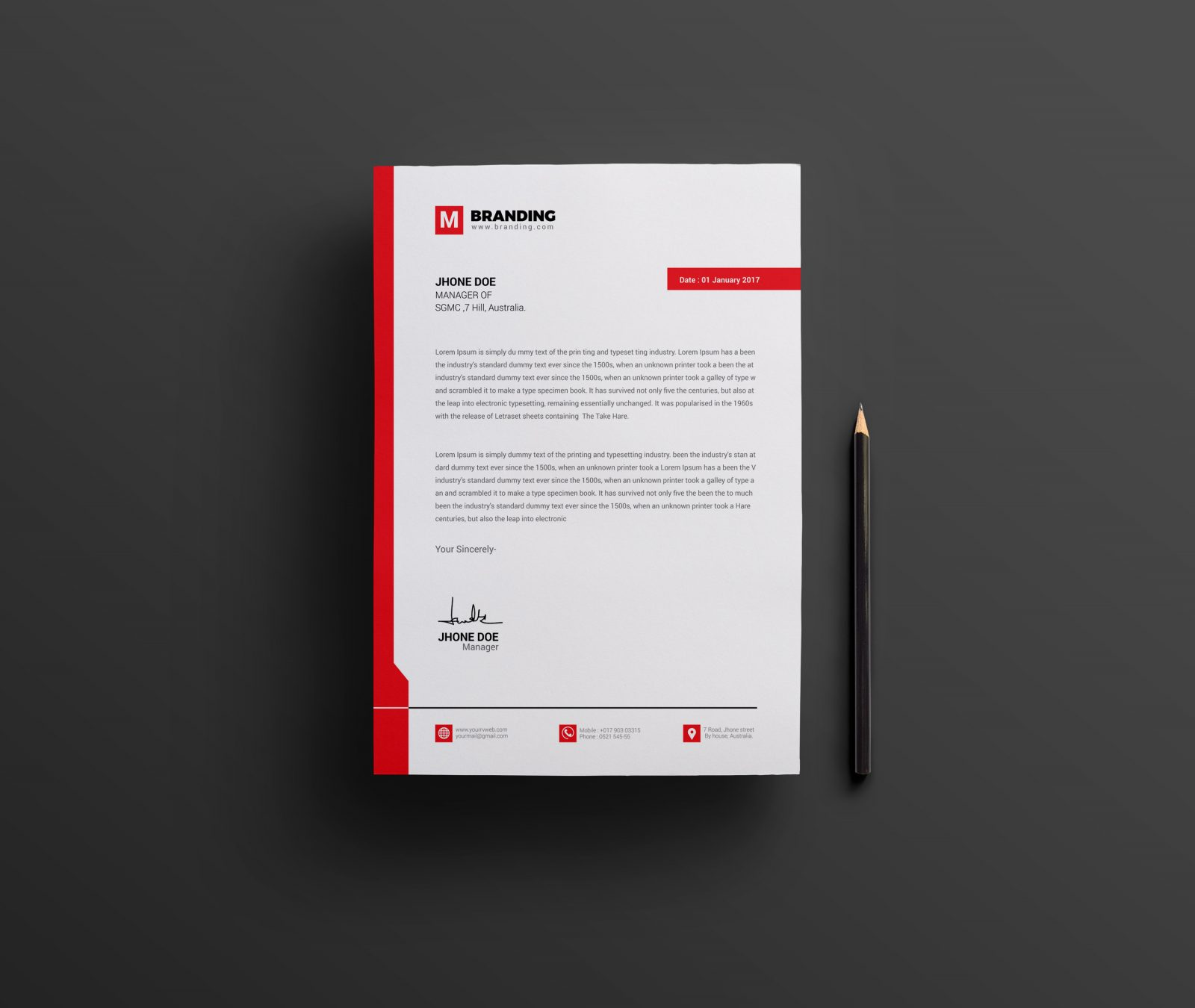 Executive Stationery Letterhead Business Letterhead 8370: Plain Creative Corporate Letterhead Design Template 001963