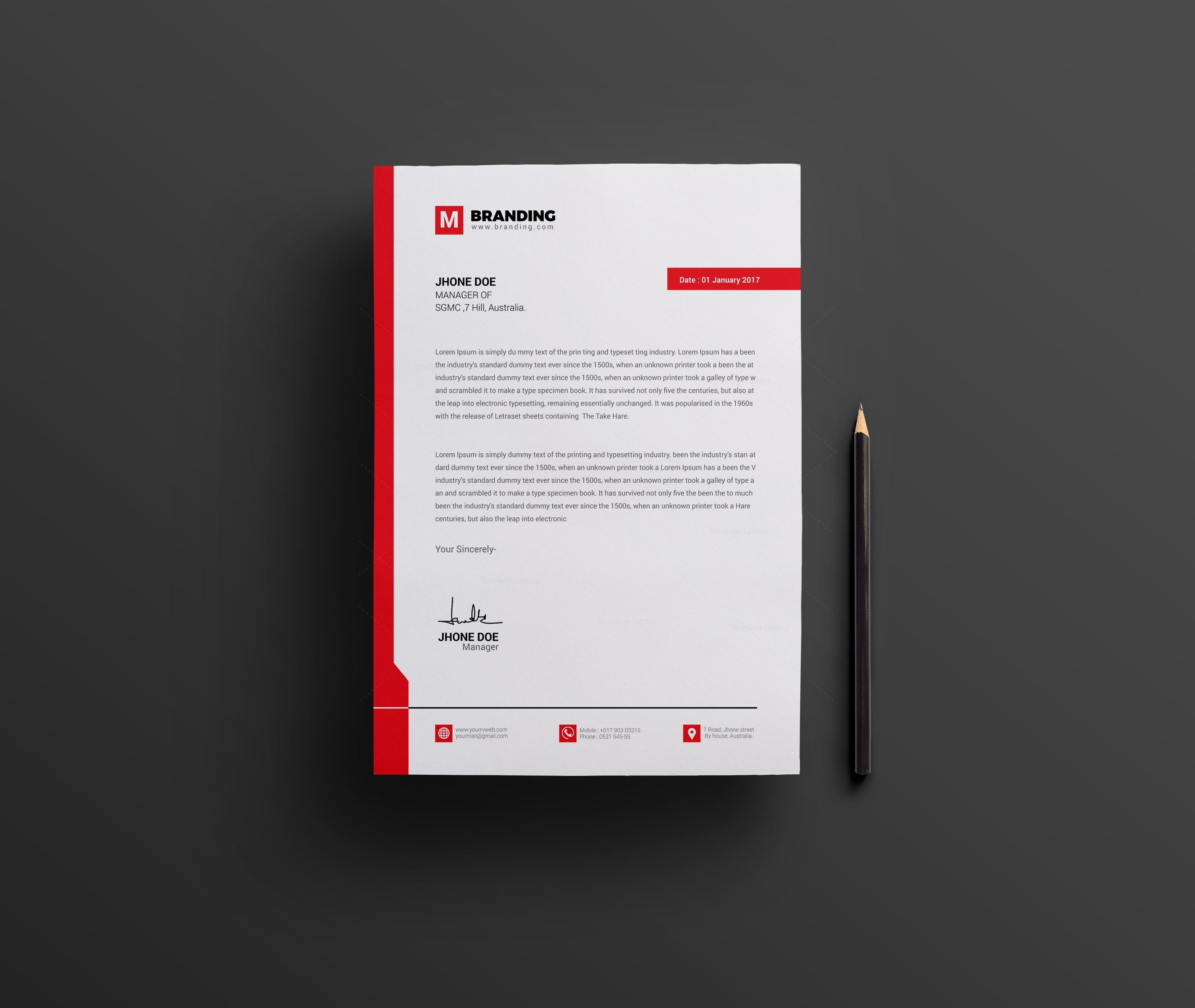 A Creative Corporate Letterhead For Dealing Business With: Plain Creative Corporate Letterhead Design Template 001963