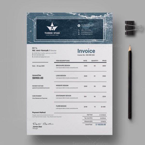 Three Star Professional Invoice Design Template 2