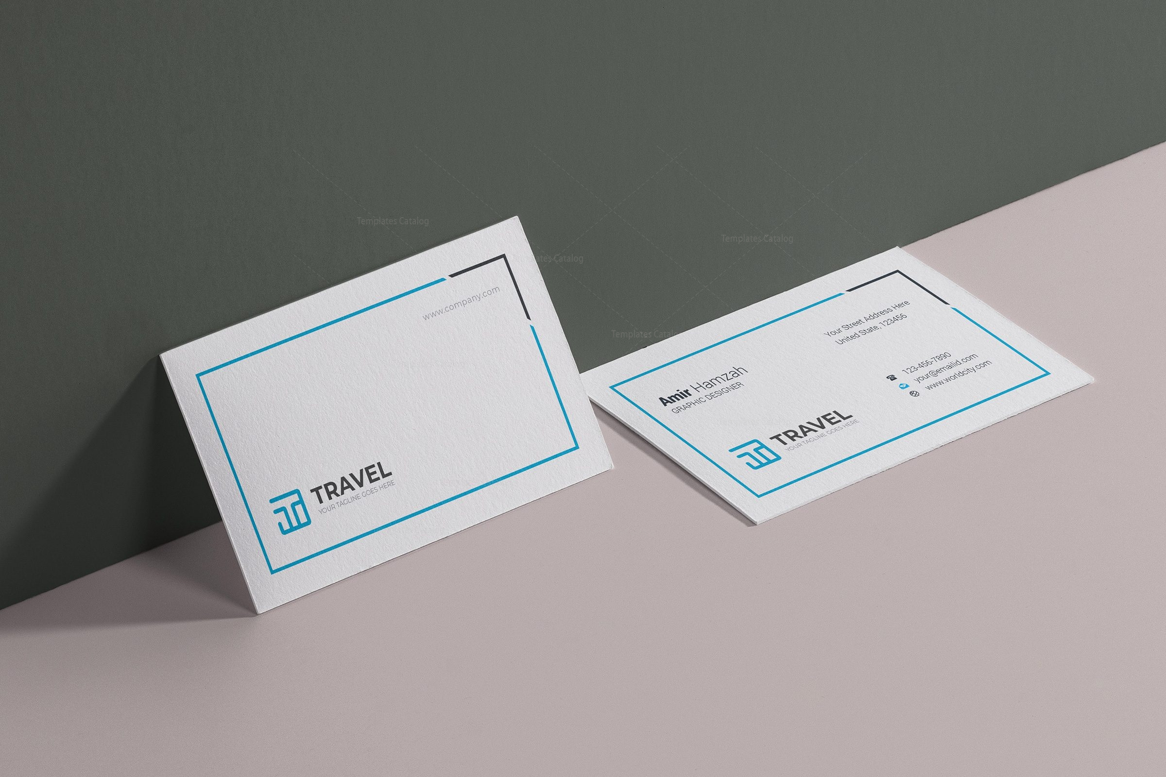 Travel Agency Business Card Design Template 001782 - Template Catalog