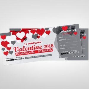 Valentine's Day Event Ticket Design Template