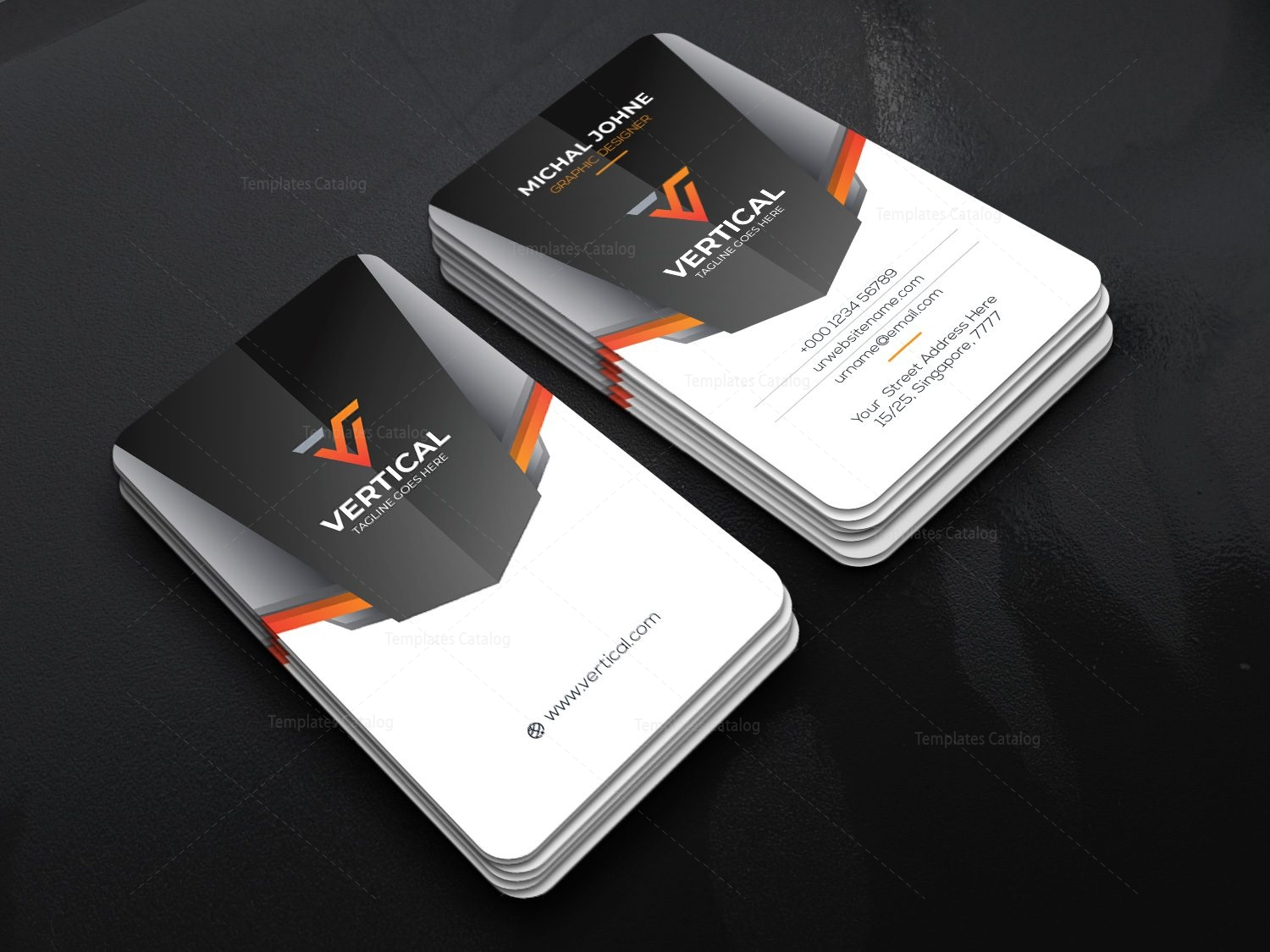 Vertical Company Business Card Design Template 001792